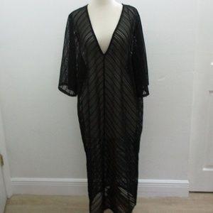 ZARA Long See Through v Neck Black Dress